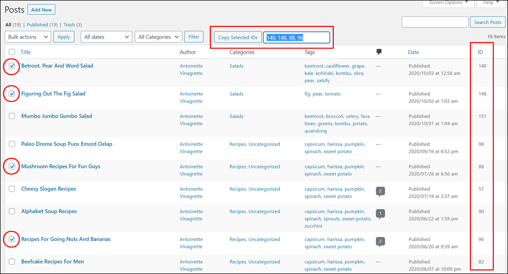 Table of Posts with Post ID copy functionality.