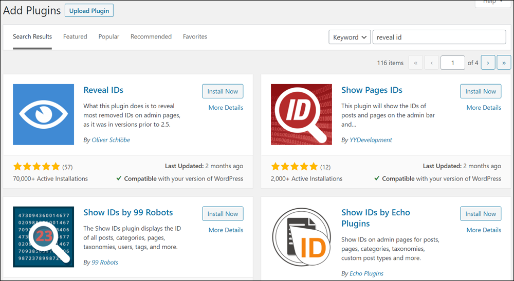 Plugins results for search on reveal ID.