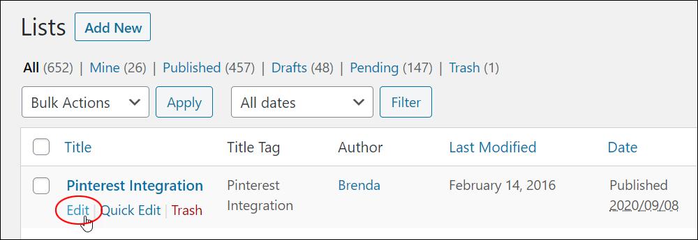 Lists screen - Edit link