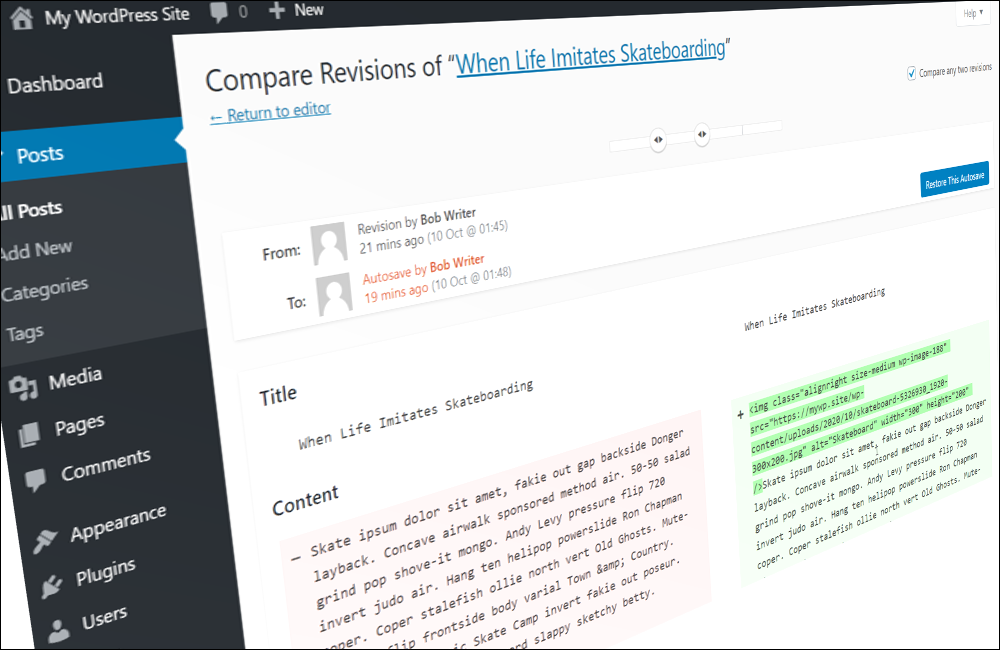 WordPress post revisions screen.