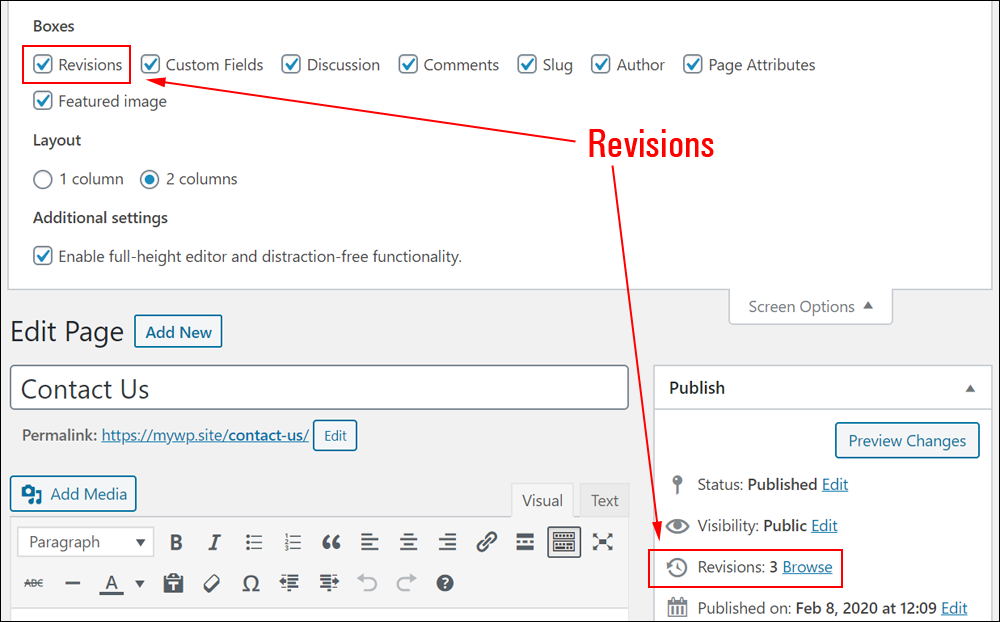 WordPress Screen Options - Revisions checkbox