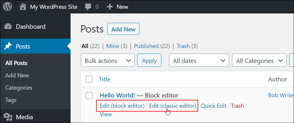 Posts screen with links to editing content using the block or classic editor.