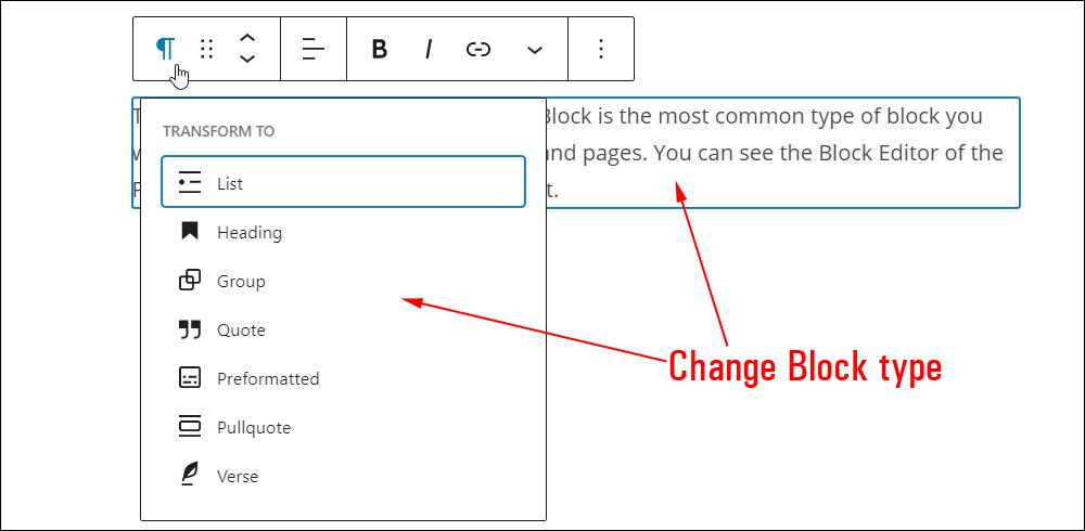 Change Block type