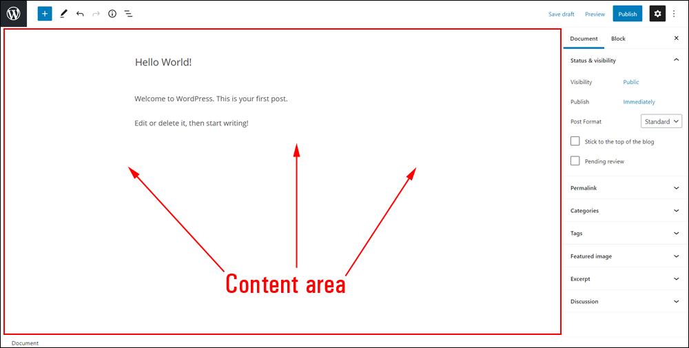 WordPress Block Editor - Content Area