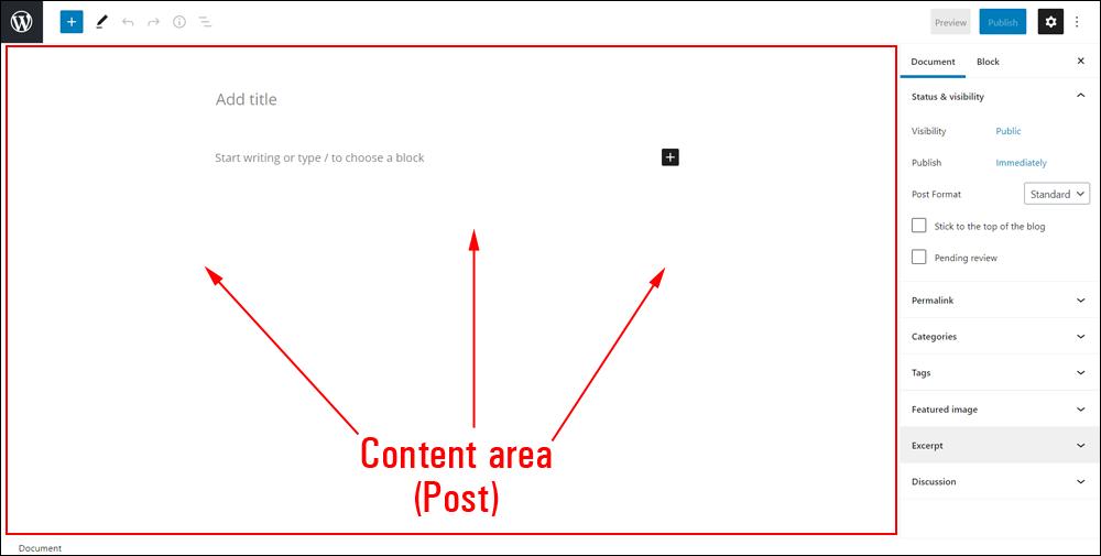 WordPress Block Editor - Post Content Area
