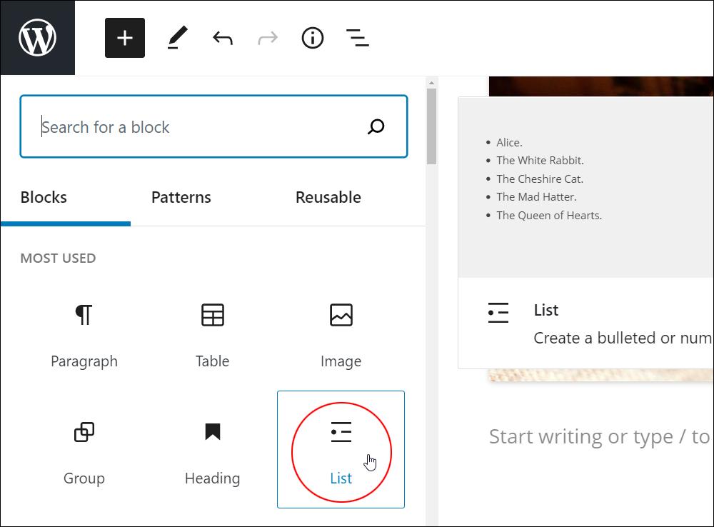 WordPress Block Editor - Add Block Menu