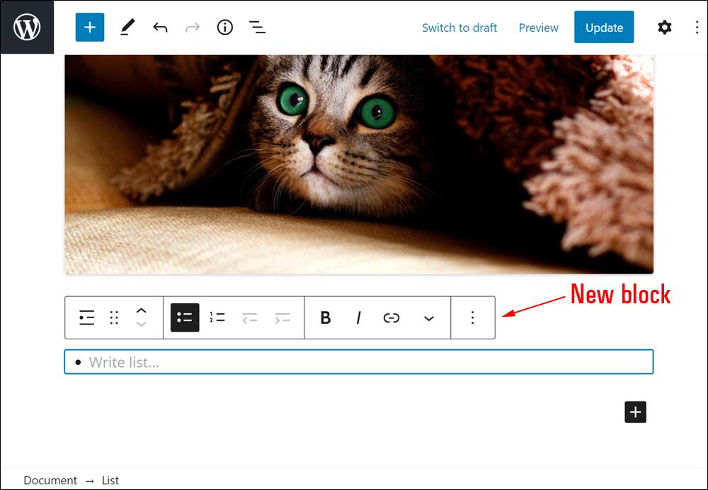 WordPress Block Editor - New Block added.