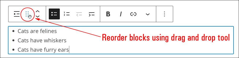 WordPress Block Editor - Drag and Drop tool.