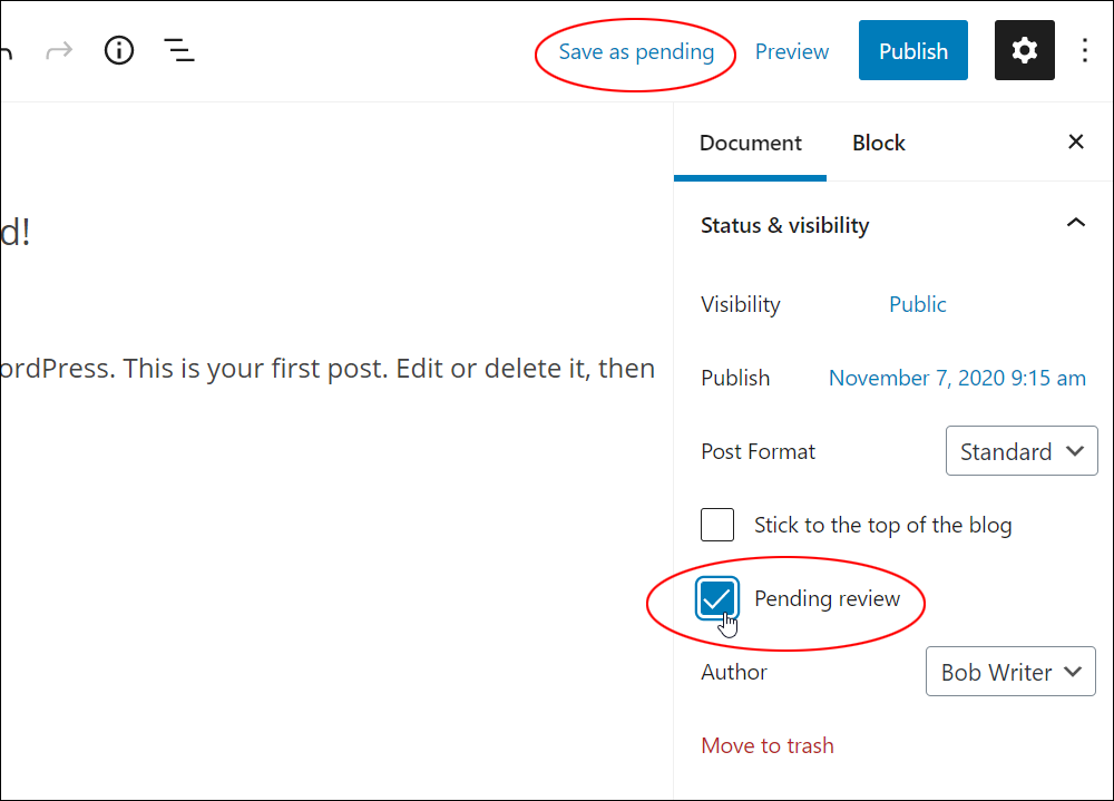 WordPress Block Editor: Document Settings - Status & visibility settings - Pending Review