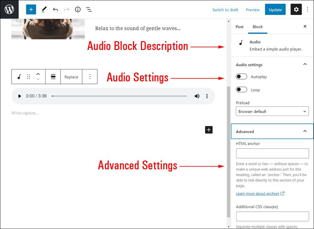 Audio block settings.