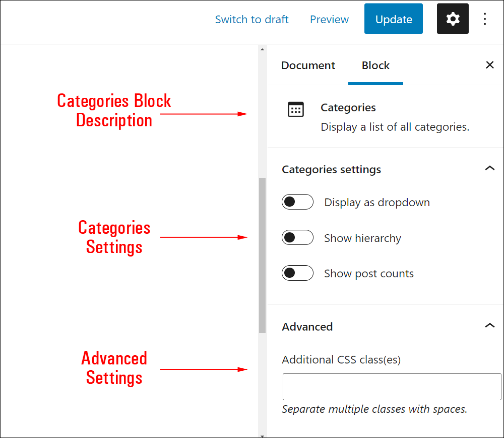 Categories block settings.
