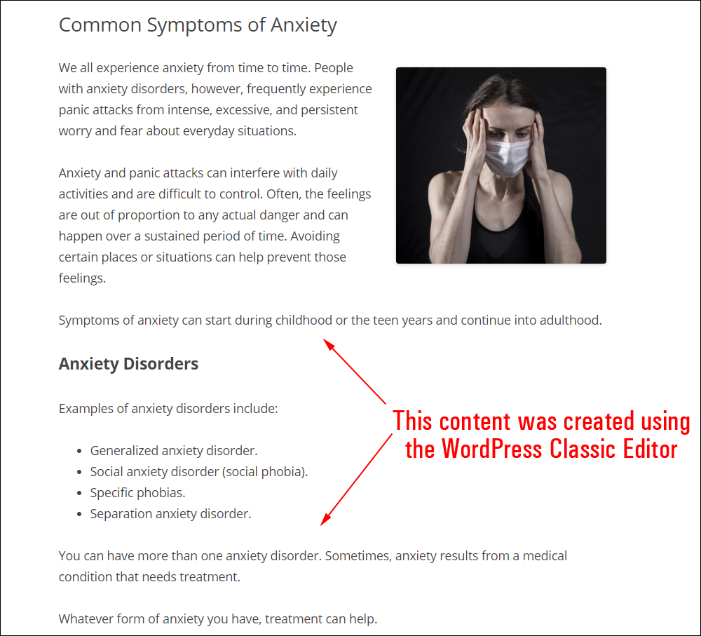 Content created using the WordPress Classic Editor