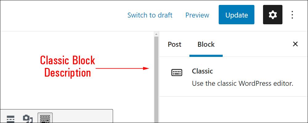 Classic block settings.