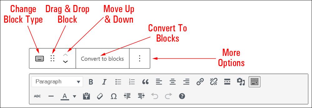 Classic block editor menu.