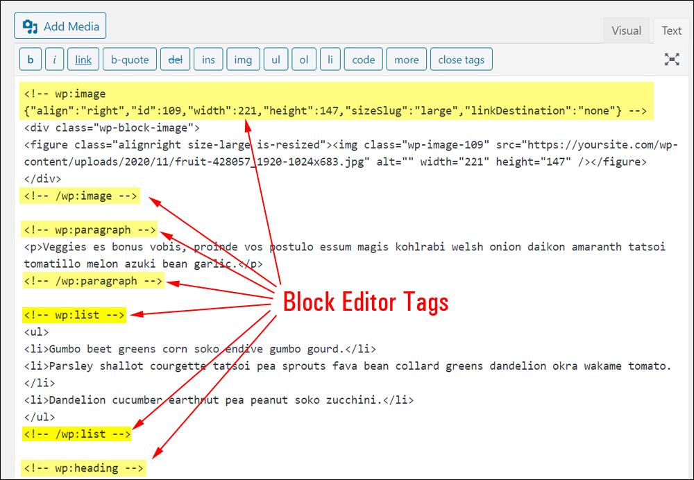 Block editor tags