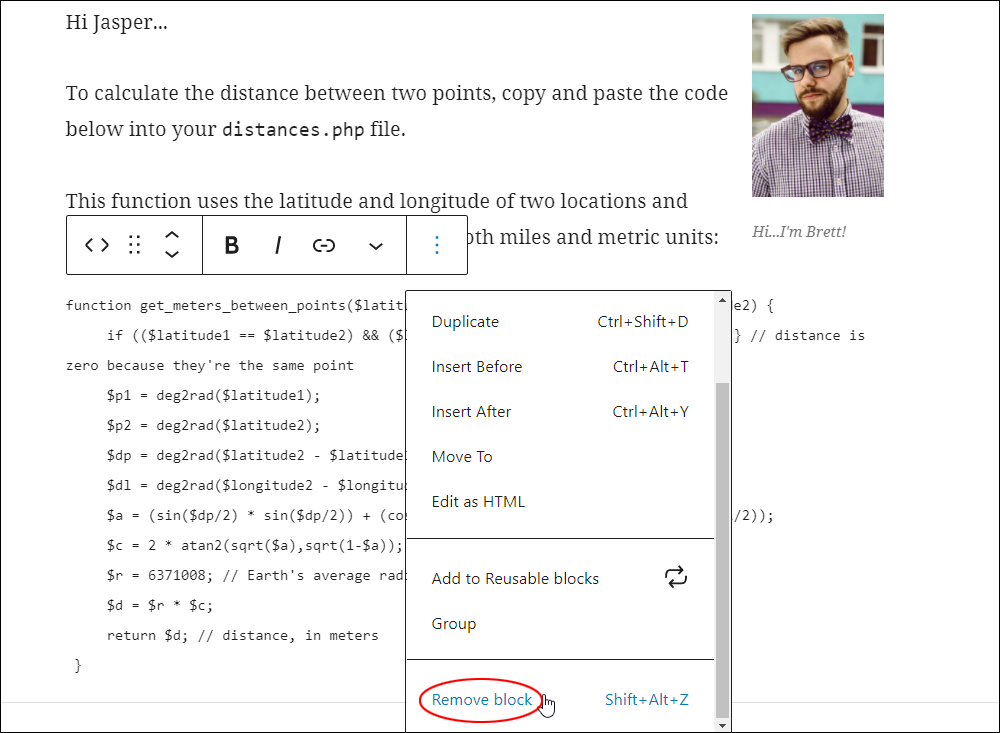Code block - More Options: Remove block