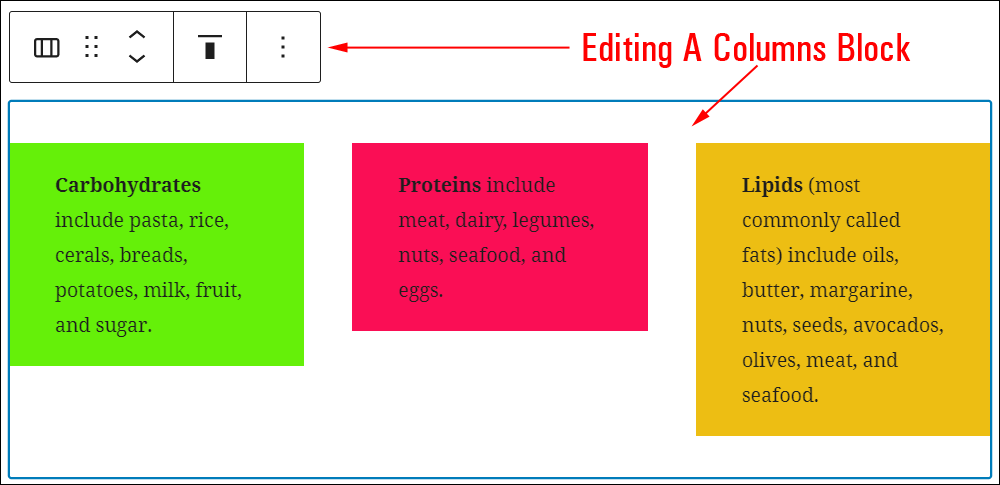 Editing the Columns Block