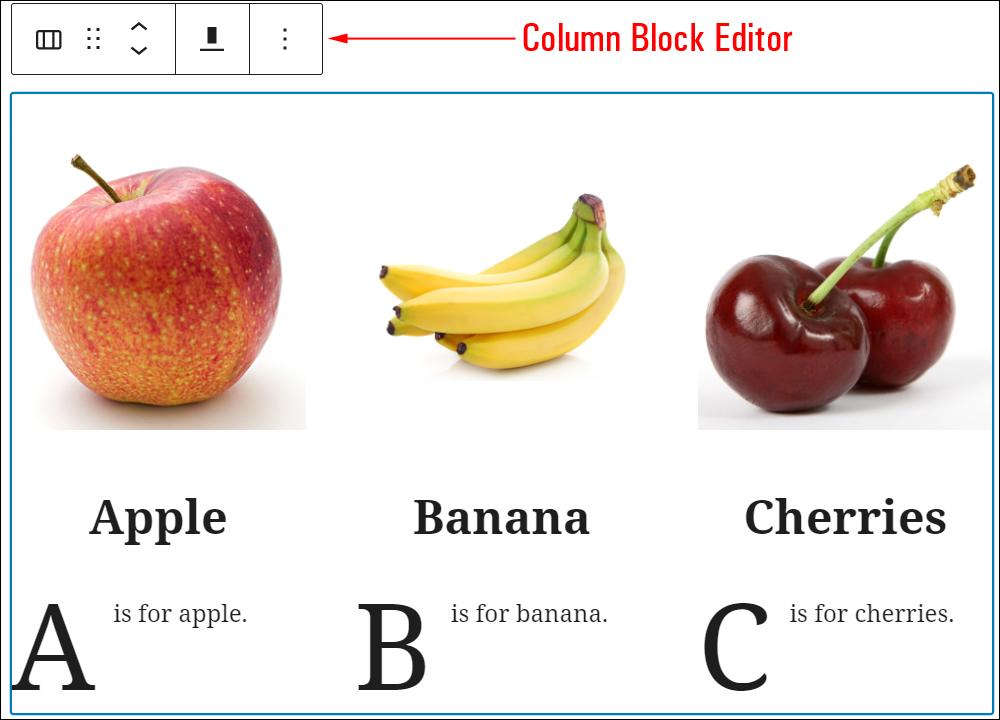 Columns Block Editor