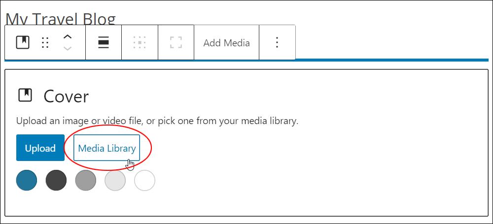 Cover block - media library button.