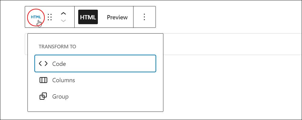Custom HTML block - Change block type or style.