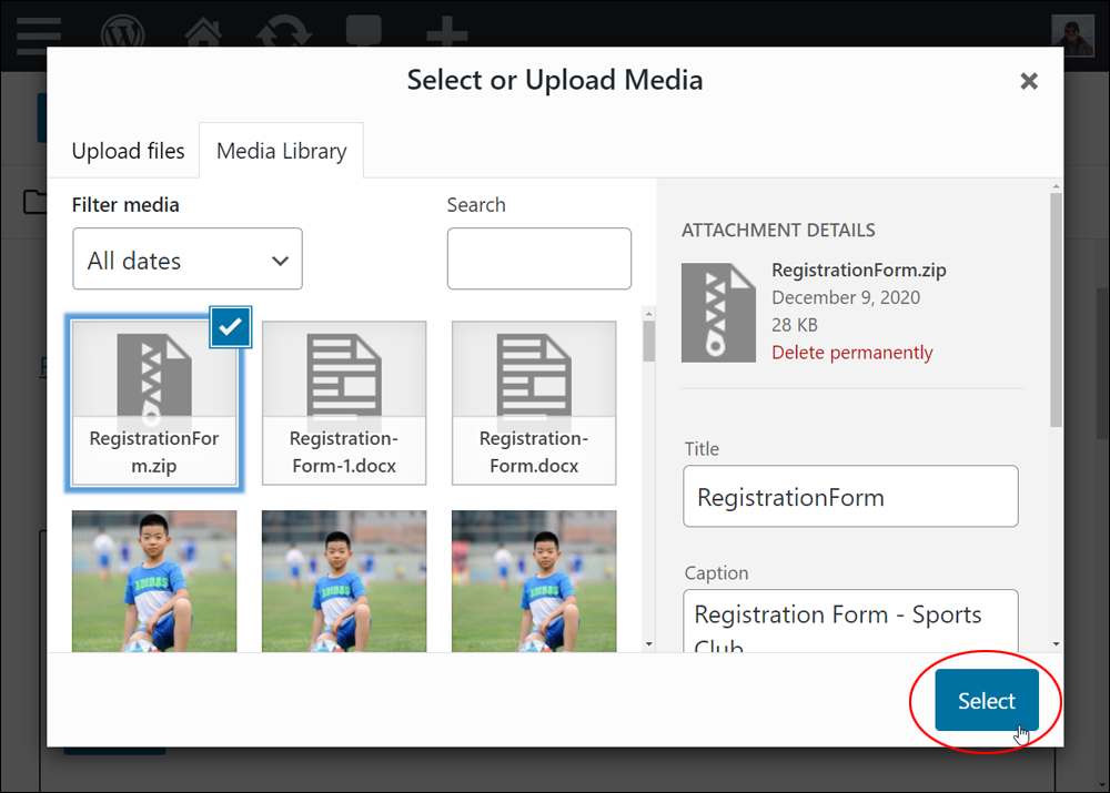 Media Library - Select File.