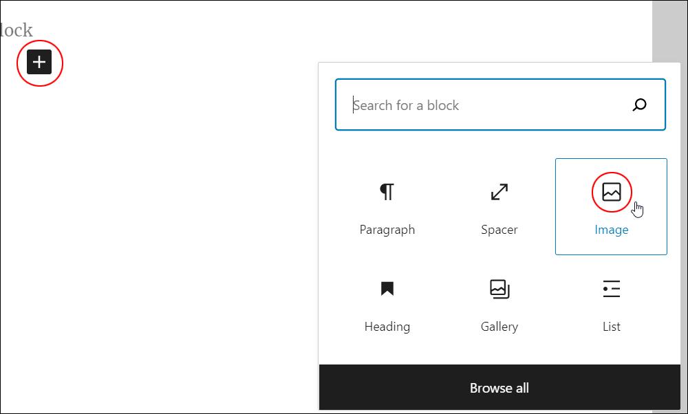 Inserter tool - Image block.