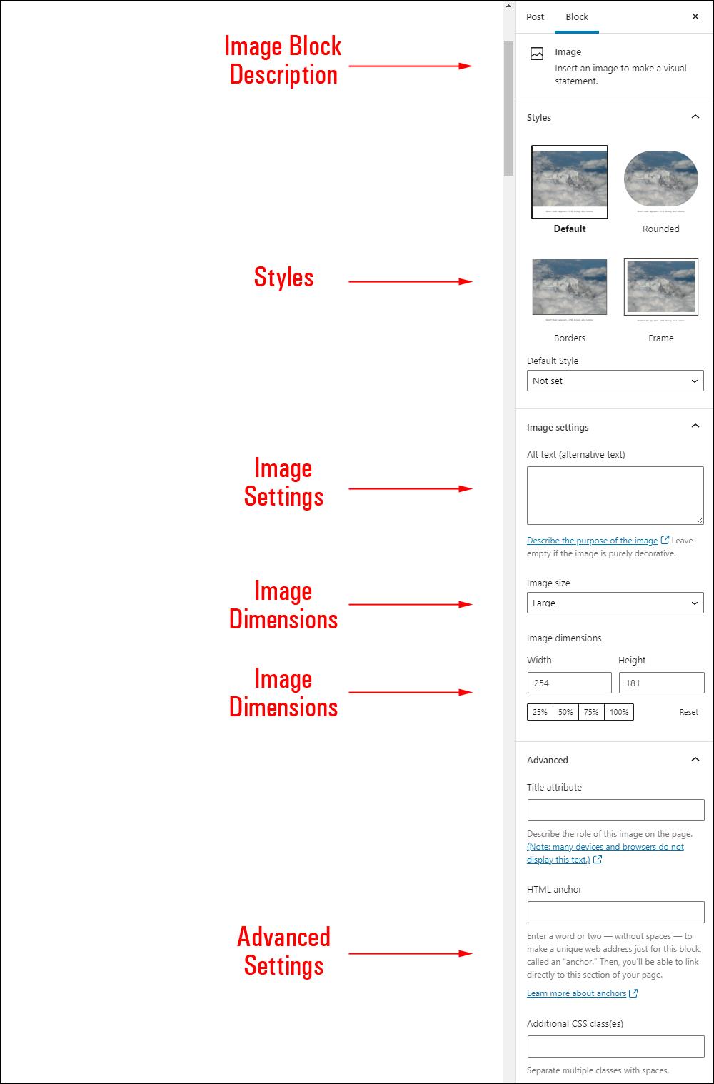 Image block settings.