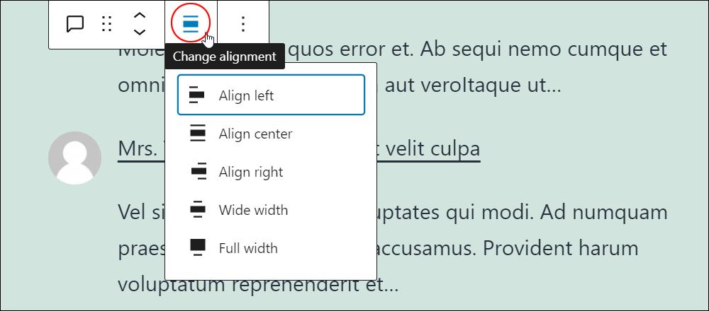 Latest Comments block - Change alignment.