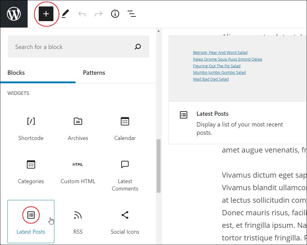 Add Block tool - Latest Posts block.