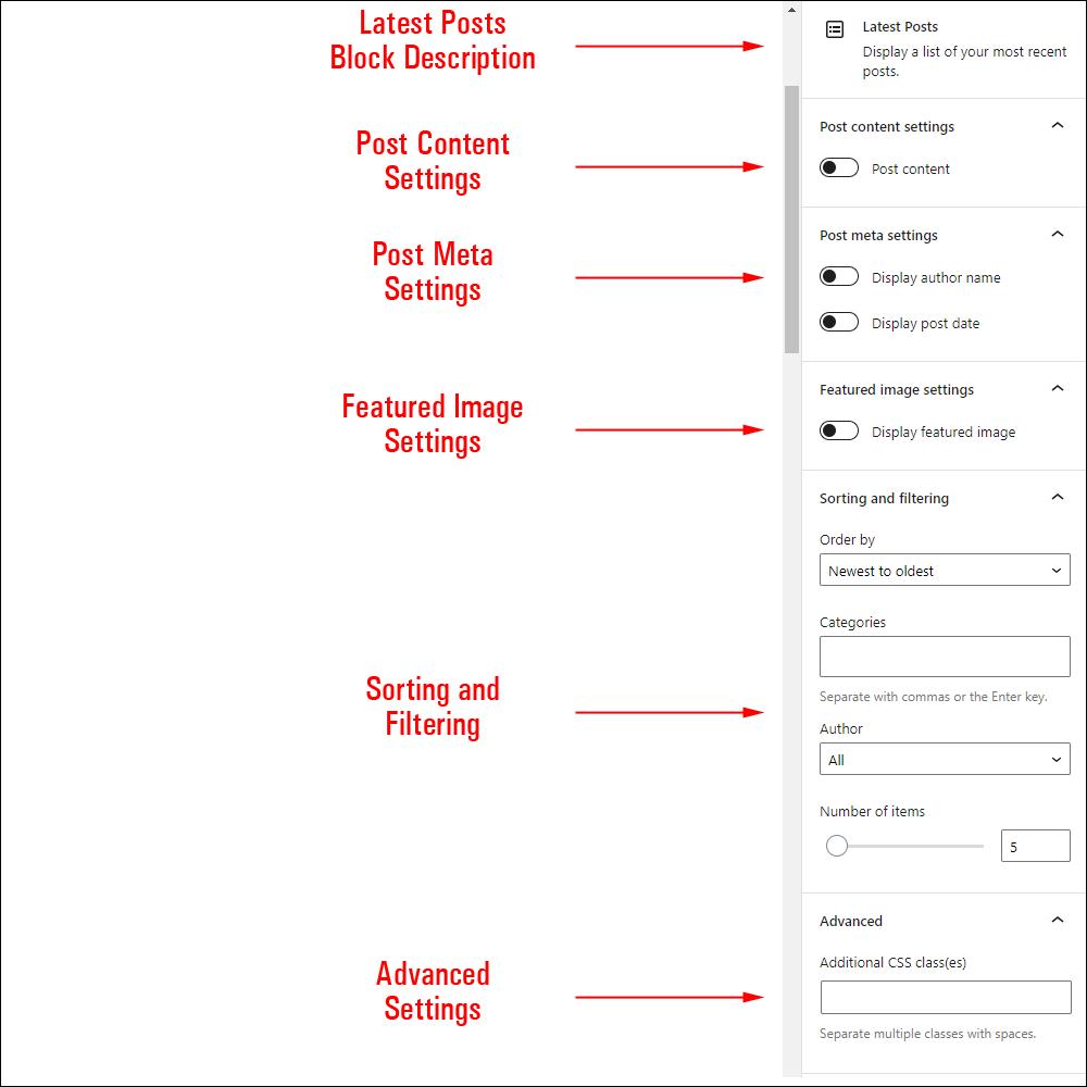 Latest Posts block settings.
