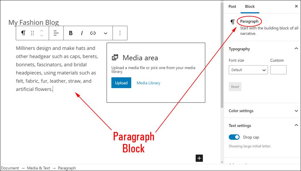 Media & Text block - Adding text.