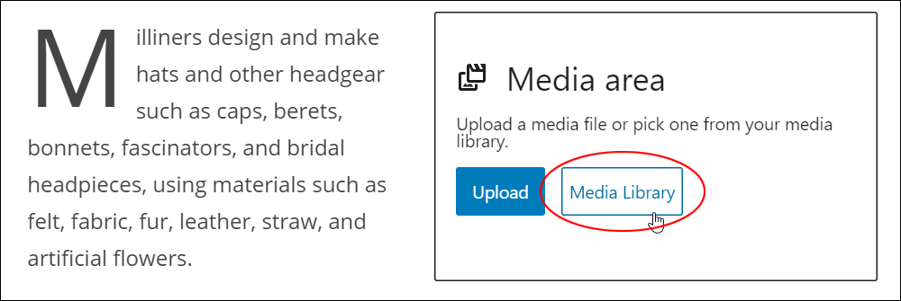 Media & Text block: Media area - Media Library button.