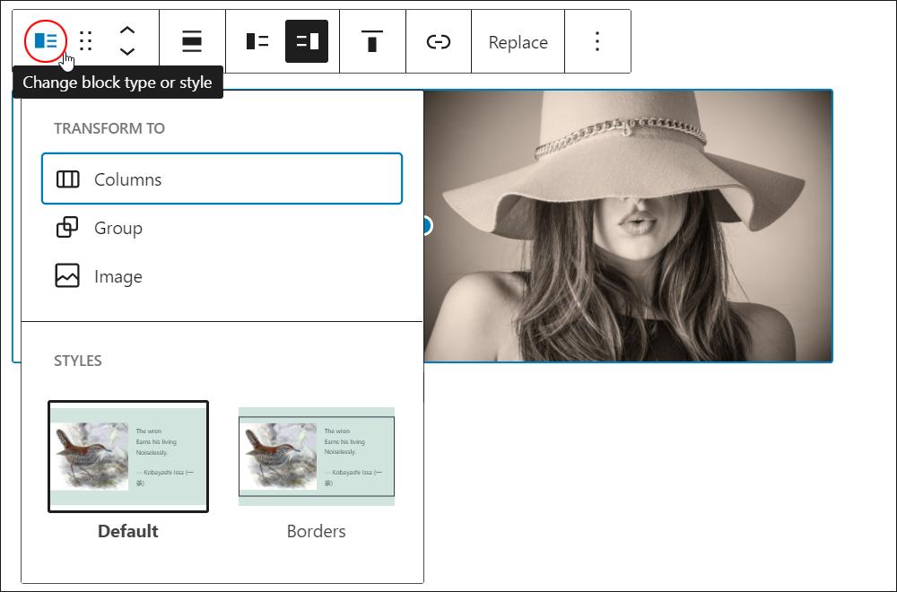 Media & Text block - Change block type or style.