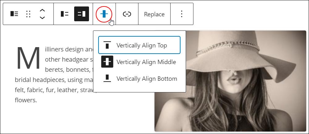 Media & Text block - Vertical Alignment button.
