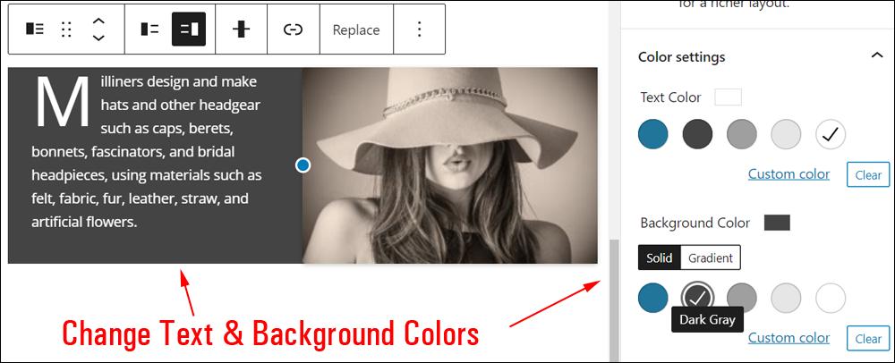 Media & Text block: Color settings.