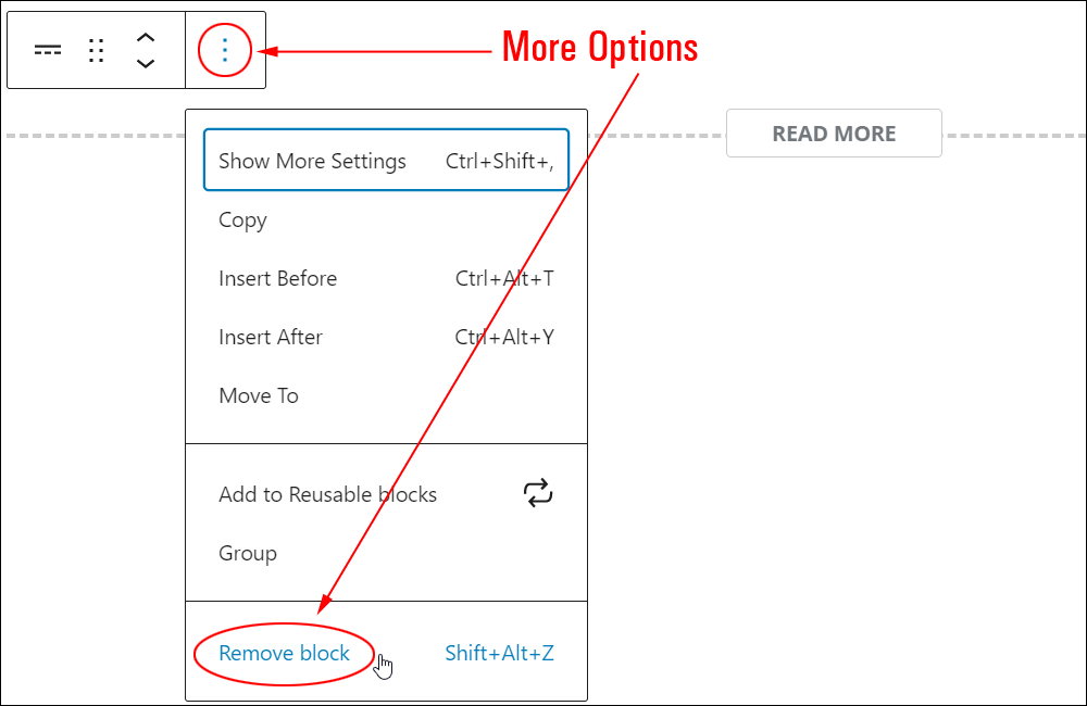 More block: More Options - Remove block.