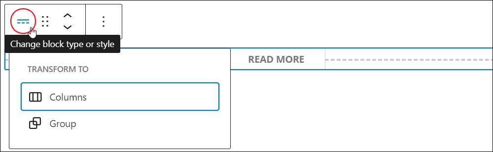 More block - Change block type or style tool.