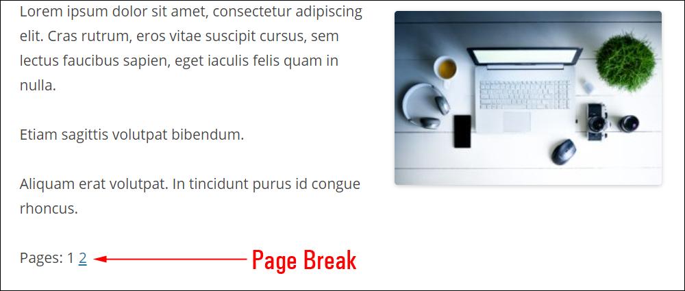 Page Break block.