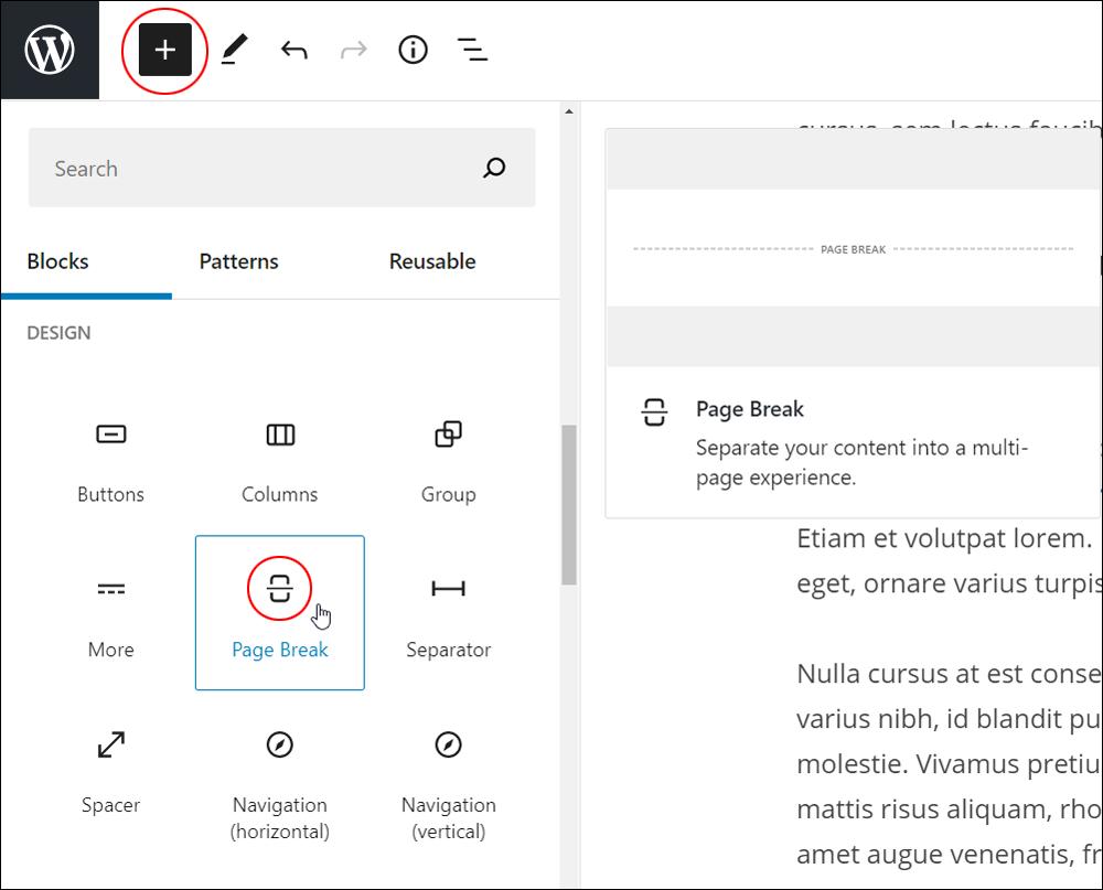 Add Block tool - Page Break block.