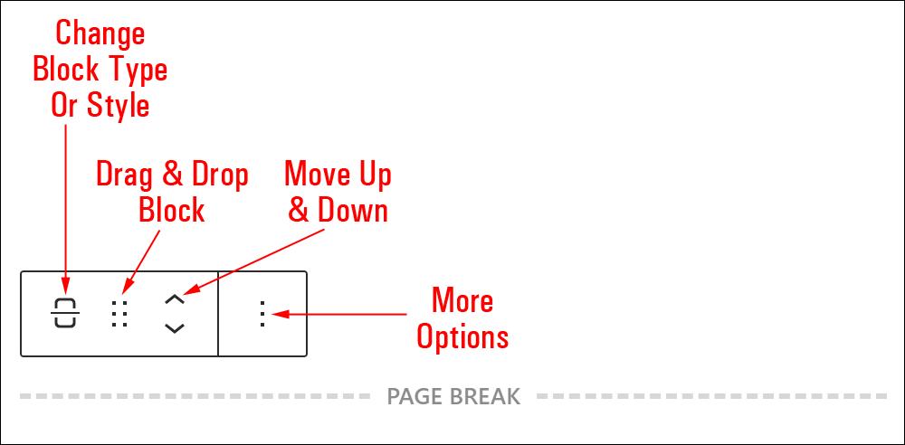 Page Break block editor.