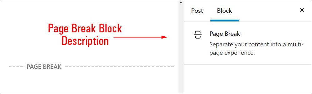 Page Break block settings.