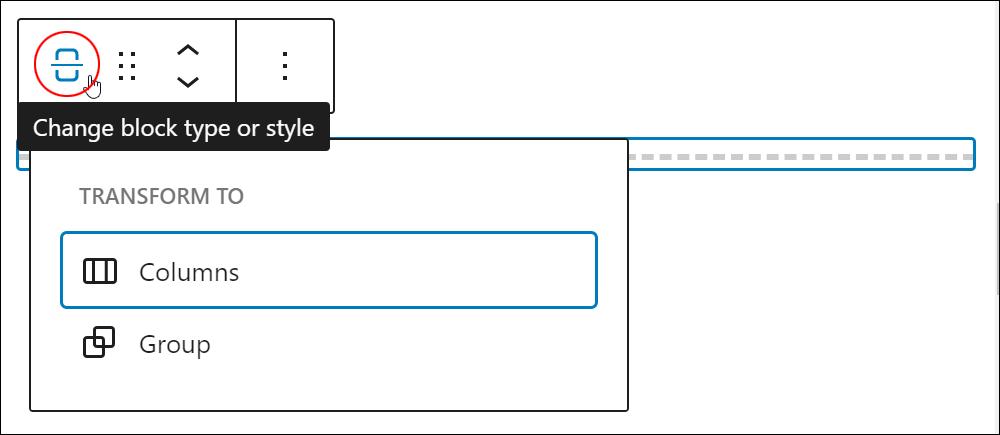 Page Break block - Change block type or style.