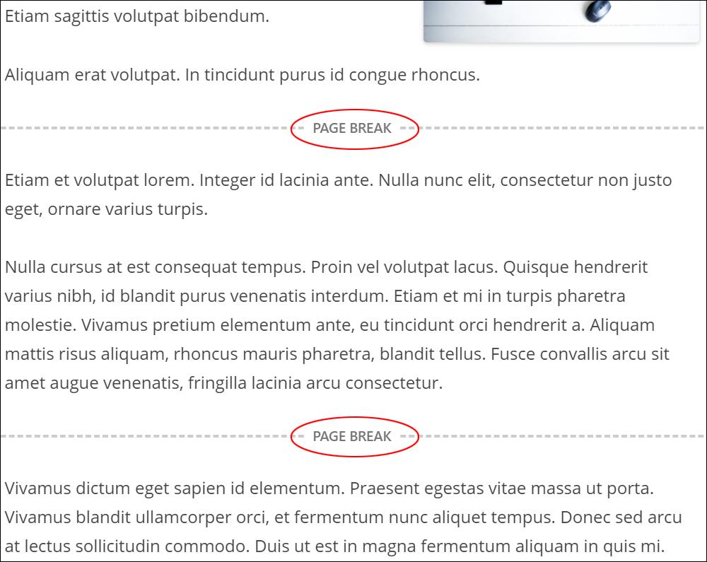 Sample post with multiple Page Break blocks.