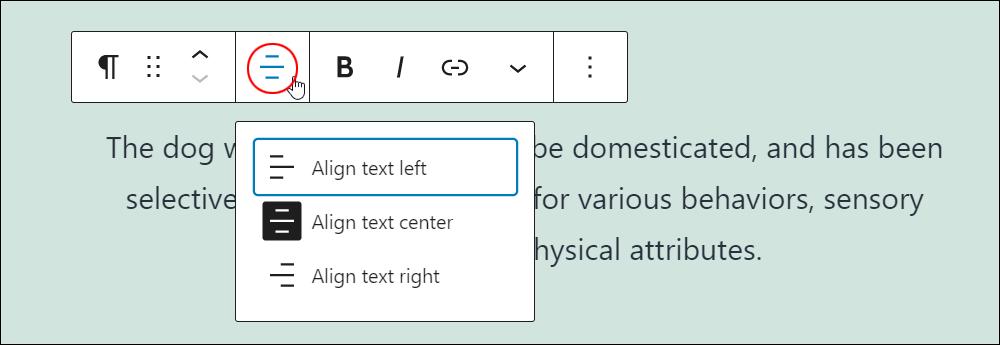 Paragraph block - Change text alignment.
