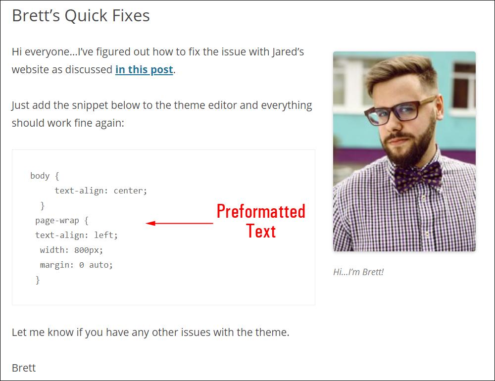 Sample content using Preformatted block.