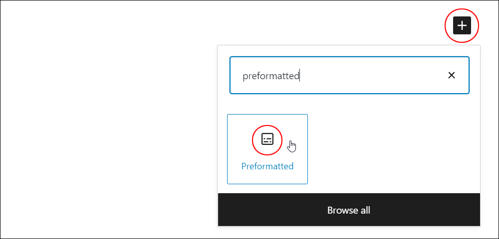 Inserter tool - Preformatted block.