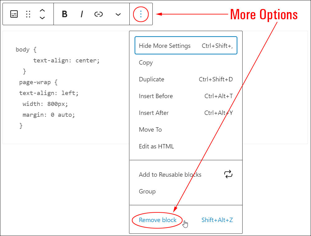 Preformatted block: More Options - Remove block.