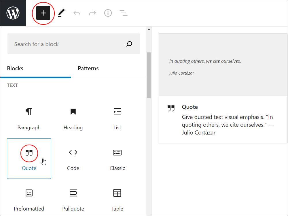 Add Block tool - Quote block.