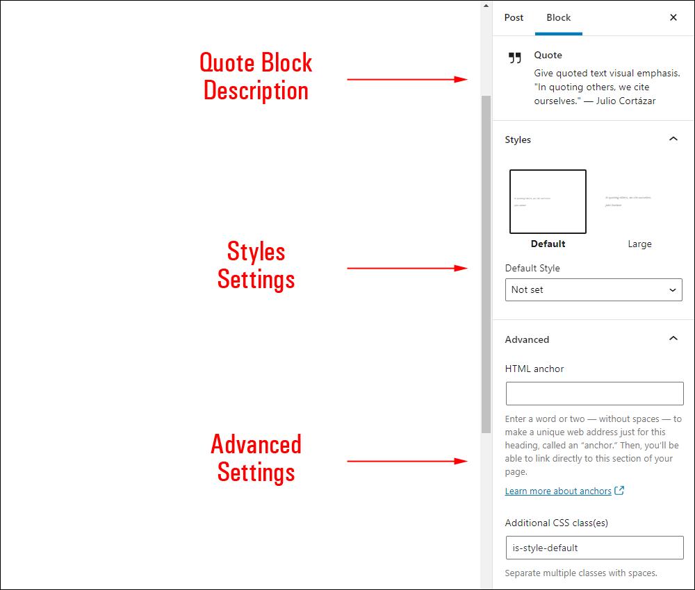 Quote block settings.