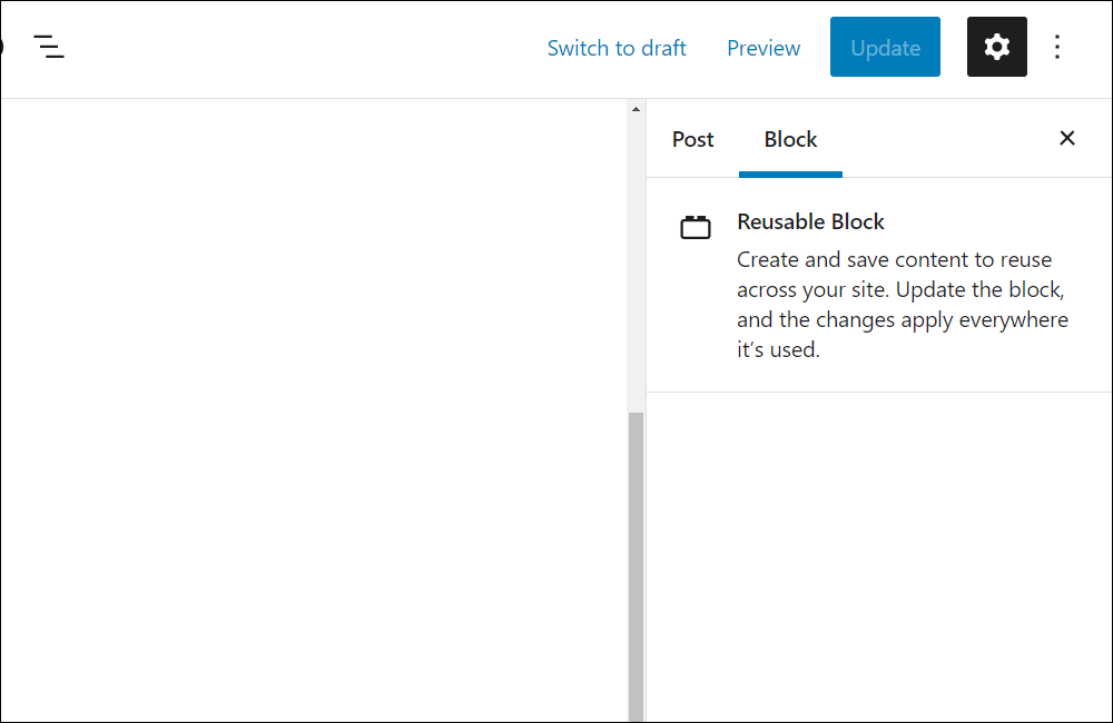 Reusable block settings.